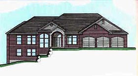 House Plan 70513   Traditional Style Plan with 5425 Sq Ft, 5 Bedrooms, 3 Bathrooms, 3 Car Garage Elevation
