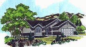 Traditional House Plan 70525 with 2 Beds, 2 Baths, 2 Car Garage Elevation