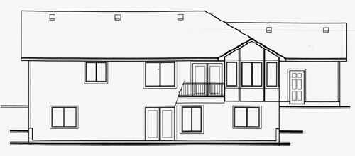 Traditional House Plan 70531 with 4 Beds, 3 Baths, 3 Car Garage Rear Elevation