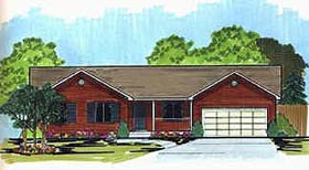 Ranch House Plan 70536 with 3 Beds, 2 Baths, 2 Car Garage Elevation