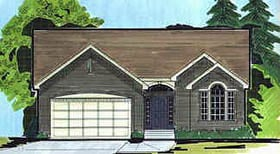 House Plan 70542 | Traditional Style Plan with 1556 Sq Ft, 3 Bedrooms, 2 Bathrooms, 2 Car Garage Elevation
