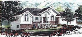 House Plan 70543 | Colonial Style Plan with 1564 Sq Ft, 3 Bedrooms, 2 Bathrooms, 3 Car Garage Elevation
