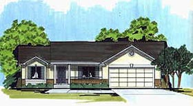 Traditional House Plan 70545 with 2 Beds, 2 Baths, 2 Car Garage Elevation