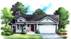 House Plan 70546 | Traditional Style Plan with 1729 Sq Ft, 3 Bedrooms, 2 Bathrooms, 2 Car Garage Elevation