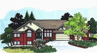 Traditional House Plan 70568 with 3 Beds, 3 Baths, 3 Car Garage Front Elevation