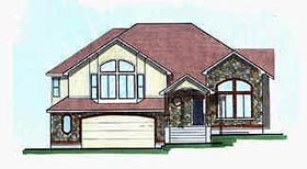 Traditional House Plan 70583 with 3 Beds, 2 Baths, 2 Car Garage Elevation