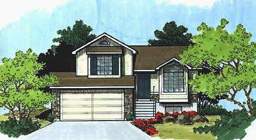 Traditional House Plan 70587 with 2 Beds, 1 Baths, 2 Car Garage Front Elevation