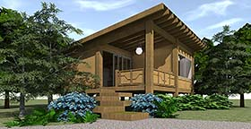 Cabin House Plan 70800 with 1 Beds, 1 Baths Elevation