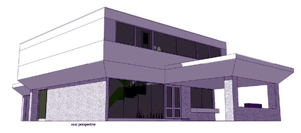Contemporary , Modern , Rear Elevation of Plan 70802