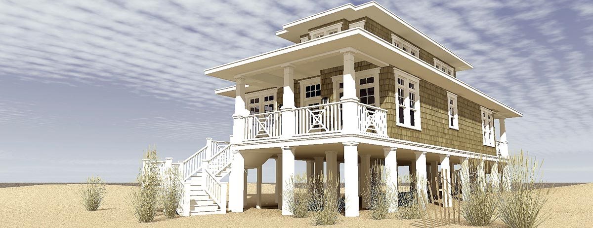 House plan 70806 at for Beach house elevation designs
