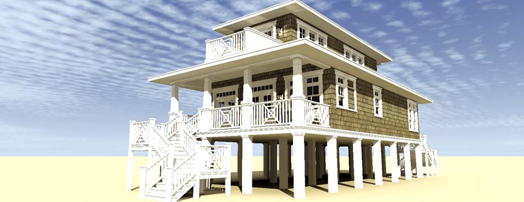 Coastal Craftsman Rear Elevation of Plan 70806