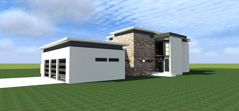 Modern, House Plan 70807 with 4 Beds, 4 Baths, 3 Car Garage