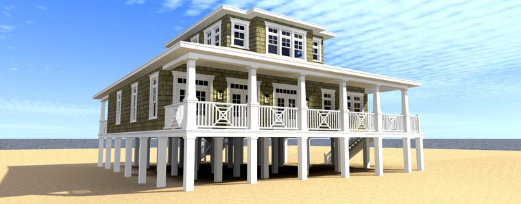 Coastal House Plan 70808 Rear Elevation