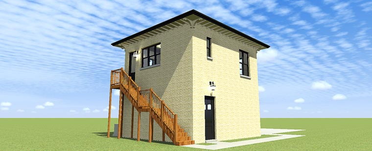 2 Car Garage Apartment Plan 70813 with 2 Beds, 1 Baths Rear Elevation