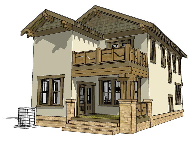 House Plan 70815 | Craftsman Style Plan with 2080 Sq Ft, 3 Bedrooms, 3 Bathrooms, 2 Car Garage Rear Elevation