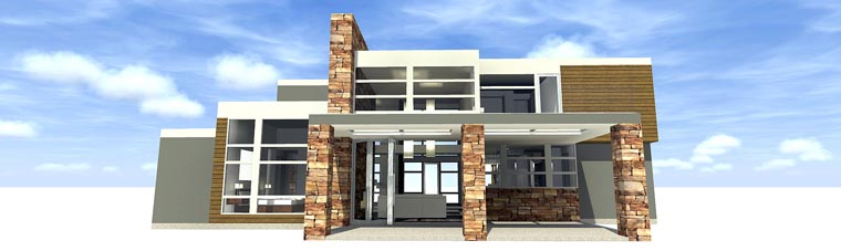 Contemporary House Plan 70817 Rear Elevation