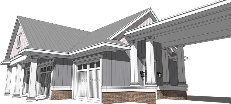 Cottage, Craftsman, Traditional 4 Car Garage Plan 70818 Picture 2