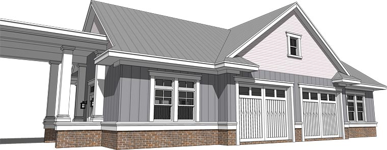 Cottage Craftsman Traditional Rear Elevation of Plan 70818