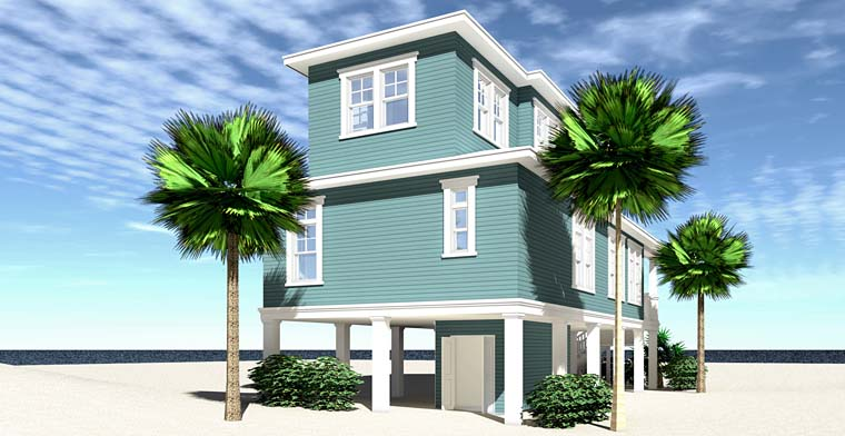 Coastal, Contemporary, Cottage, Craftsman, Southern House Plan 70824 with 3 Beds, 4 Baths Rear Elevation