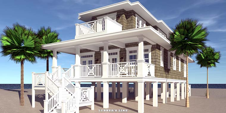 Coastal Craftsman House Plan 70826 Rear Elevation