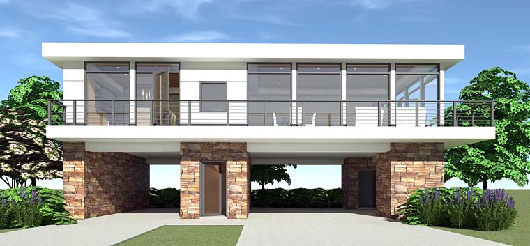Modern House Plan 70828 with 2 Beds, 2 Baths, 3 Car Garage Front Elevation