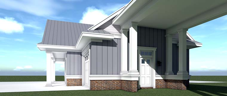 Country, Farmhouse, Southern, Traditional 4 Car Garage Plan 70832 Picture 2
