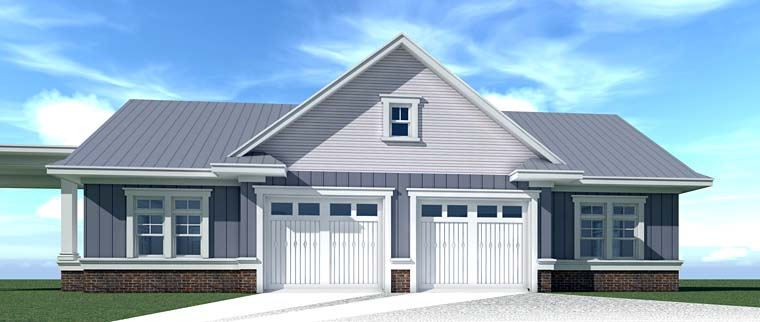 Country Farmhouse Southern Traditional Rear Elevation of Plan 70832