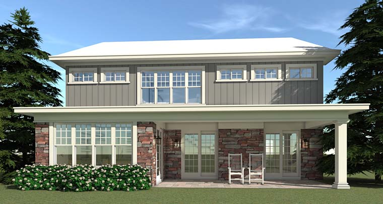 Farmhouse Traditional House Plan 70833 Rear Elevation