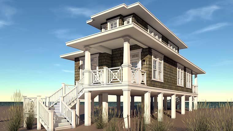 Bungalow Coastal Craftsman Elevation of Plan 70839