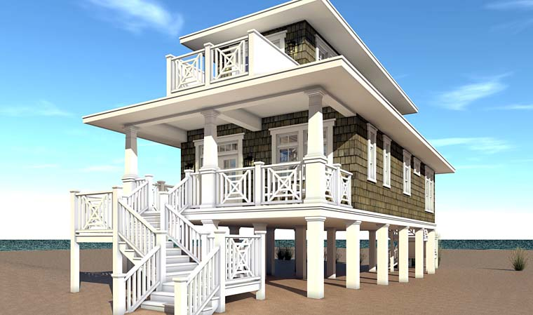 Bungalow Coastal Craftsman Rear Elevation of Plan 70839