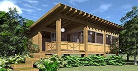 Cabin Modern Ranch Southwest House Plan 70849 Elevation
