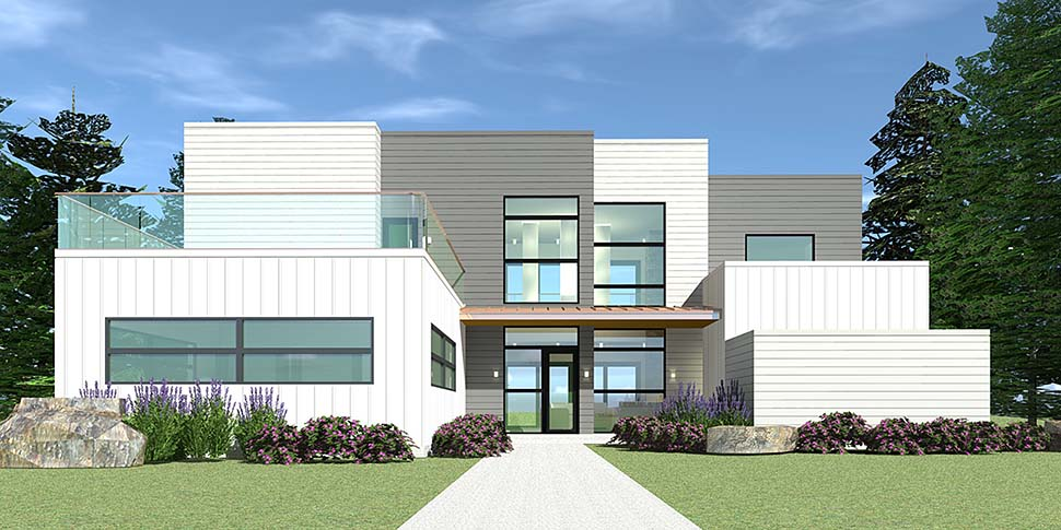 Contemporary, Modern House Plan 70850 with 4 Beds, 4 Baths, 2 Car Garage Elevation