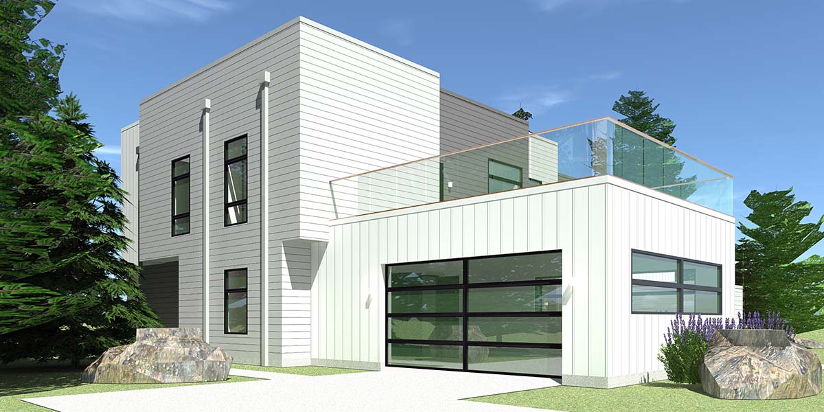 Contemporary, Modern House Plan 70850 with 4 Beds, 4 Baths, 2 Car Garage Picture 2
