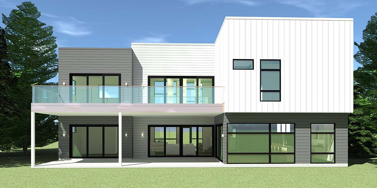Contemporary , Modern , Rear Elevation of Plan 70850
