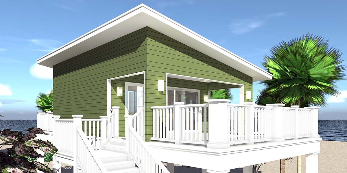 Coastal, Contemporary, Cottage House Plan 70851 with 1 Beds, 1 Baths, 2 Car Garage Picture 2