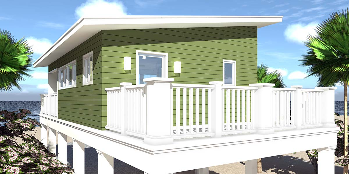 Coastal, Contemporary, Cottage House Plan 70851 with 1 Beds, 1 Baths, 2 Car Garage Rear Elevation