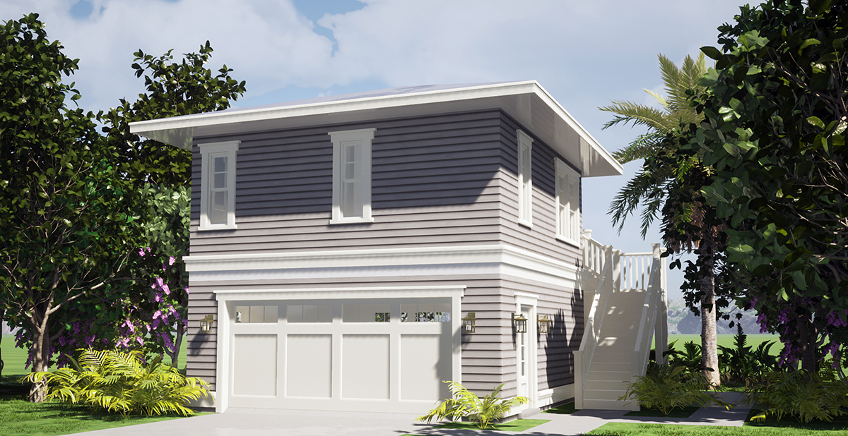 Coastal Garage-Living Plan 70858 with 1 Beds, 1 Baths, 2 Car Garage Rear Elevation