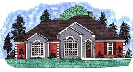 European House Plan 71403 with 3 Beds, 2 Baths, 2 Car Garage Elevation