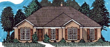 Traditional House Plan 71409 with 3 Beds, 2 Baths, 2 Car Garage Elevation