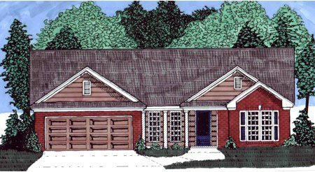 House Plan 71411 | Traditional Style Plan with 1667 Sq Ft, 4 Bedrooms, 2 Bathrooms, 2 Car Garage Elevation