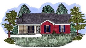 House Plan 71416 | Traditional Style Plan with 1373 Sq Ft, 3 Bedrooms, 2 Bathrooms Elevation
