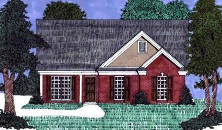 House Plan 71418 | Traditional Style Plan with 1548 Sq Ft, 3 Bedrooms, 2 Bathrooms Elevation