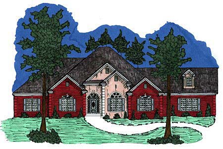 European House Plan 71452 with 4 Beds, 3 Baths, 2 Car Garage Elevation