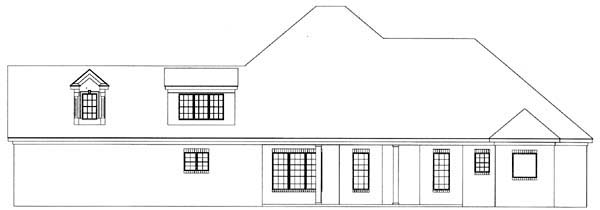 European House Plan 71452 with 4 Beds, 3 Baths, 2 Car Garage Rear Elevation