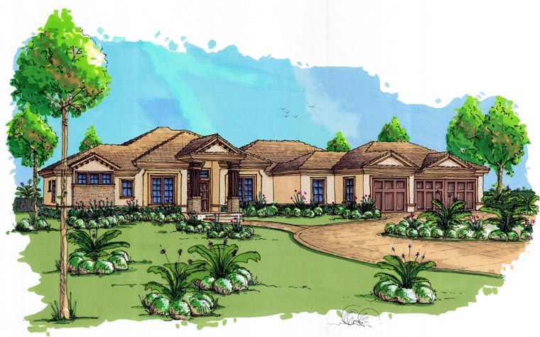 Coastal Contemporary Florida Mediterranean House Plan 71500 Elevation