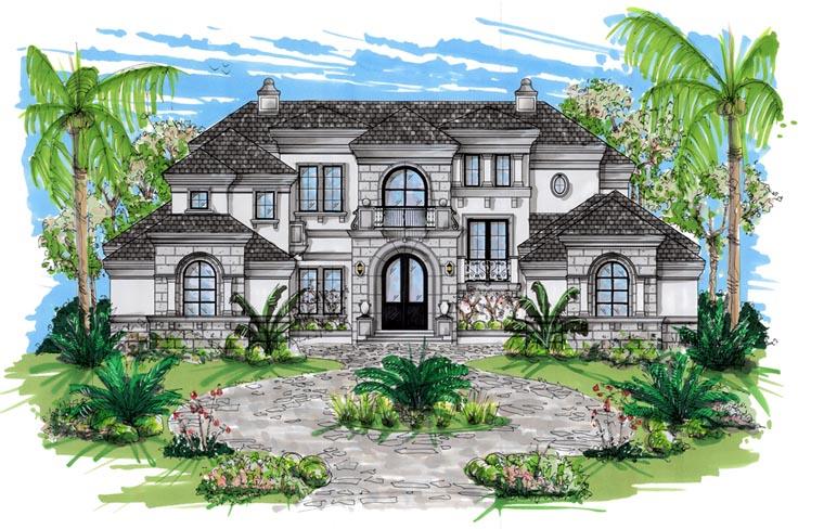 Coastal Contemporary Florida Mediterranean House Plan 71503 Elevation