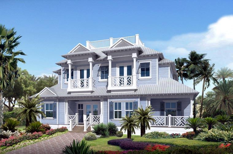 Coastal Contemporary Florida Mediterranean House Plan 71506 Elevation