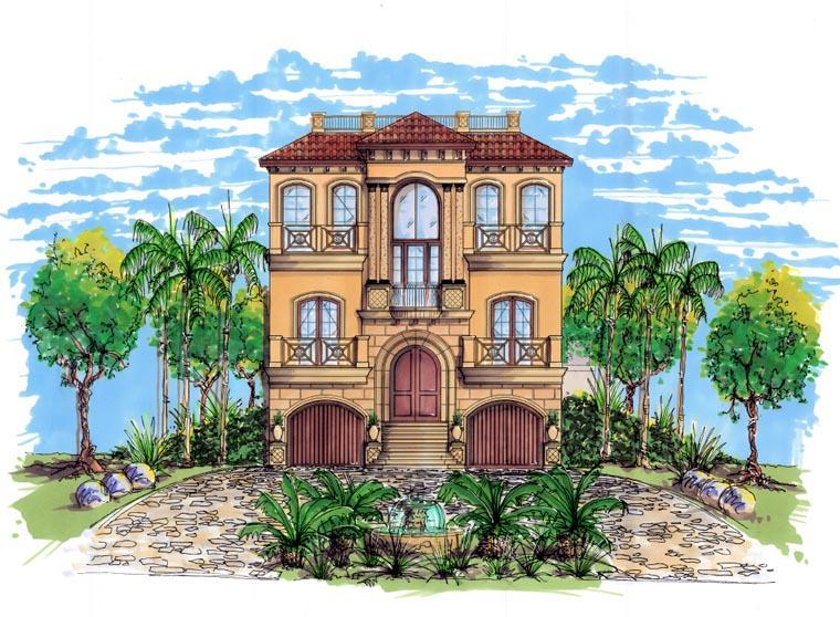 Coastal Contemporary Florida Mediterranean House Plan 71508 Elevation