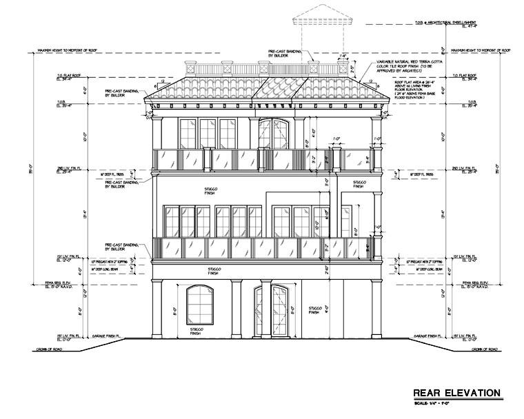 Coastal Contemporary Florida Mediterranean House Plan 71508 Rear Elevation
