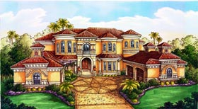 Florida House Plan 71510 with 5 Beds, 6 Baths, 3 Car Garage Elevation